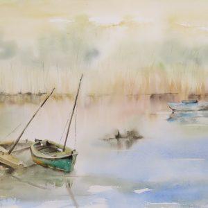 Aquarelle paysage au bord du lac