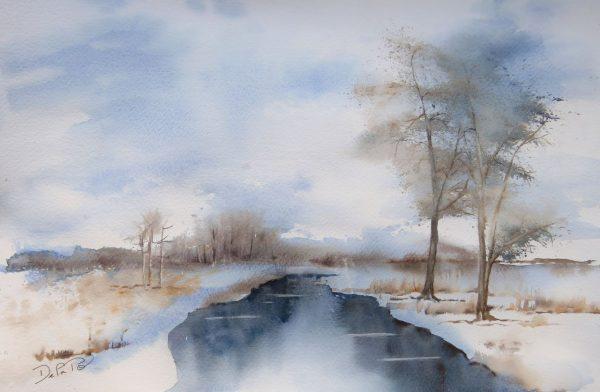 Paysage aquarelle en plein hiver