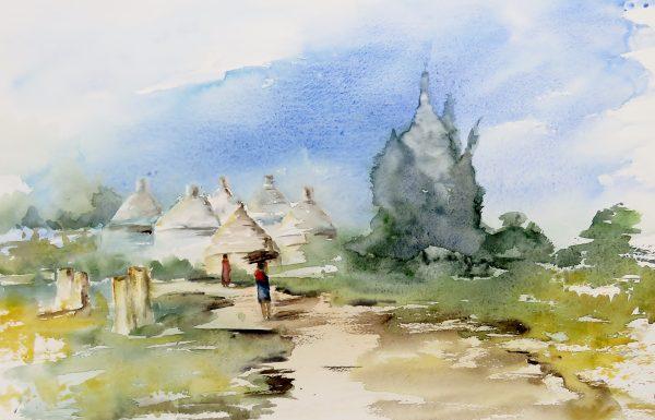Aquarelle paysage au village