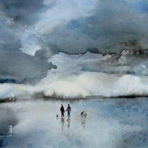 Aquarelle paysage avant la pluie