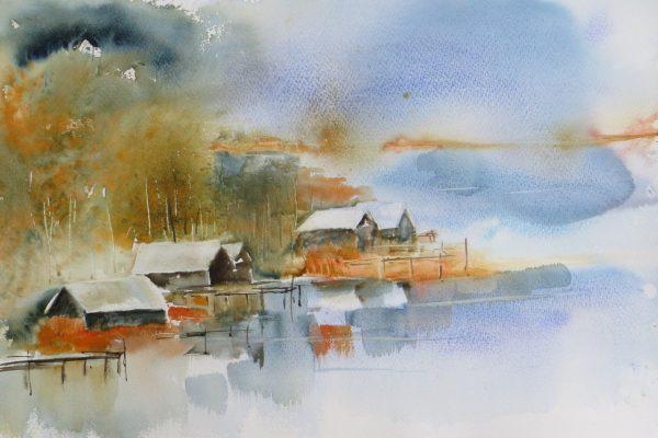 Canada petite ville au bord d'un lac