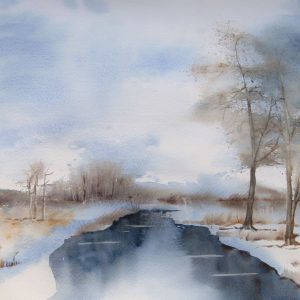 Aquarelle paysage en hiver