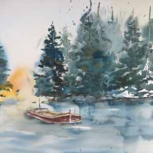 les ardennes lac bateau sapin