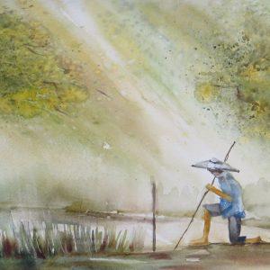 pêcheur au bâton