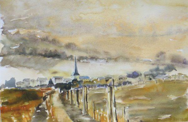 Peinture d'aquarelle petit village