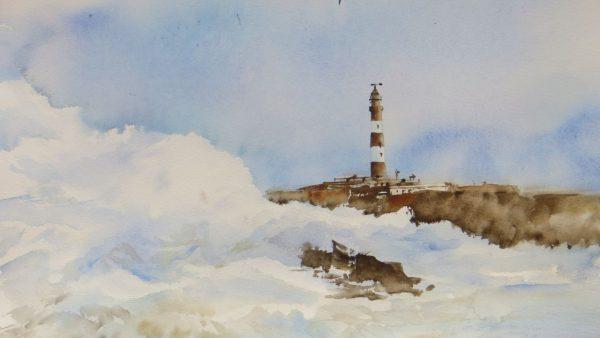 Peinture d'aquarelle d'un phare