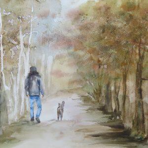 aquarelle promenda d'automne avec chien
