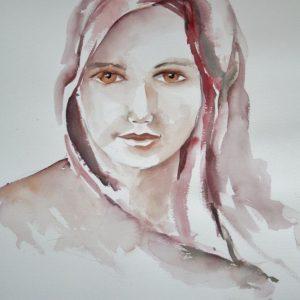 Aquarelle portrait femme