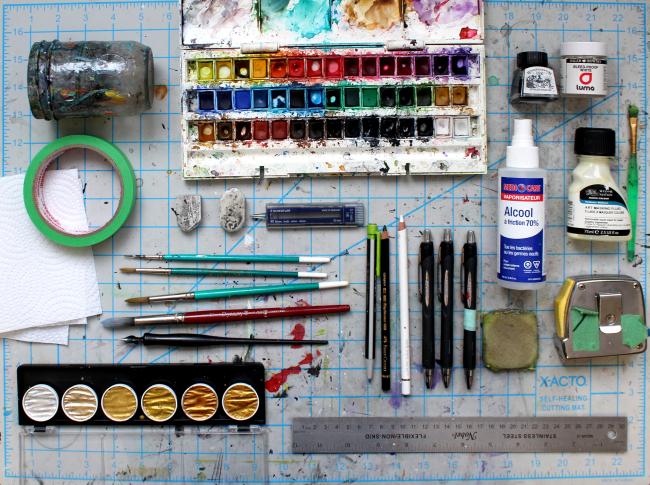 matériel aquarelle peinture