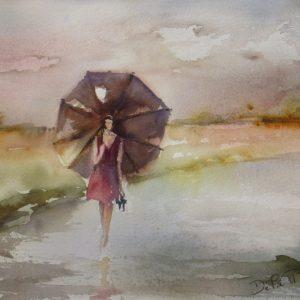 Aquarelle paysage pluie