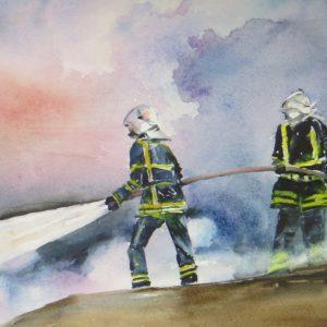 Aquarelle paysage pompiers