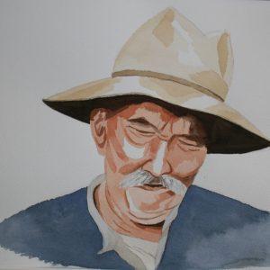 Aquarelle portrait homme provencal