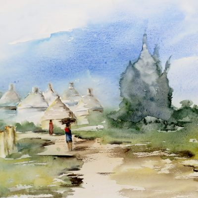 2019 Au village-In het dorp